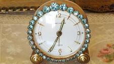 Stunning Blue Jeweled Vintage Phinney-Walker Alarm Vanity Rhinestone Clock WORKS