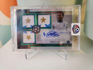 2020/21 Topps Museum Collection UEFA Marley Ake EMERALD 1/1 Triple Patch Auto