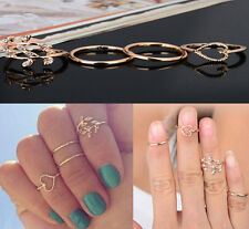 4PCS/SET Above Knuckle Ring Band Midi Rings Urban Gold Plated Crystal Plain tr99