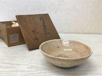 Y1623 CHAWAN Seto-ware flat signed box Japanese bowl pottery Japan tea ceremony