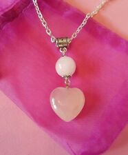 rose quartz gemstone healing heart pendant necklace handcrafted 20 inch chain