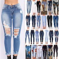 Womens Stretch Skinny Ripped Denim Jeans Jeggings High Waist Pants Slim Trousers
