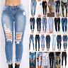 Women High Waist Ripped Skinny Fit Jeans Denim Destroyed Jeggings Pants Trousers