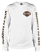 Genuine Harley Davidson Men's Long Sleeve Orange Bar and Shield White Small