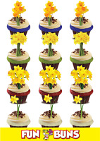 Welsh Wales Daffodil MIX Edible WAFER Standup Cake Toppers. St David's Day