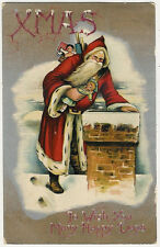 Santa Claus, Christmas, Santa with Toys on the Chimney, Nice Old Postcard