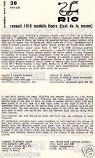DEPLIANT FASCICULE PLASTIFIE RIO REF 35 RENAULT 1910 MODELE FIACRE TAXI LA MARNE