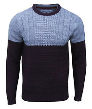 Soul Star Men's Pepper Crew Neck Cable Knit Jumper Top Grey Small