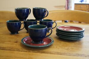 Denby Harlequin tea set 6 cups and saucers red green blue