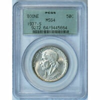 1937-S  Boone Commemorative Silver Half Dollar - PCGS MS 64 - Mint State 64