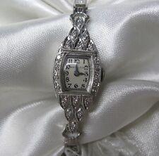 """ANTIQUE 6 1/2"""" LADIES HAMILTON .75 CT. DIAMOND PLATINUM WATCH  24.6 GRAMS"""