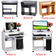 Wooden Computer Desk Study Keyboard Storage Shelves Home Office Small PC Table