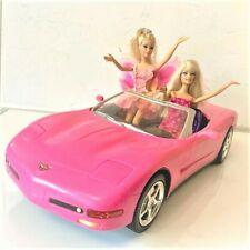 BARBIE 2001 PINK CORVETTE W TWO BARBIE DOLLS CONVERTIBLE CAR MATTEL BUNDLE