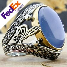 Natural Chalcedony Stone 925 Sterling Silver Turkish Handmade Men Ring All Sizes