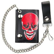 LARGE RED SKULL HEAD TRIFOLD MOTORCYCLE BIKER WALLET W CHAIN mens LEATHER #563