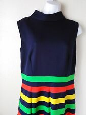 Mod Go-Go Knit Twiggy Dress SZ 6 Sleeveless Navy Bright Stripe Vintage 60's