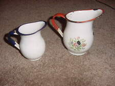 VINTAGE ENAMELWARE ENAMEL CREAMER PITCHER WHITE WITH BLUE RED TRIM LOT OF 2