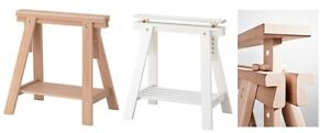 Adjustable Height Mittback TRESTLE TABLE Wooden Stand Leg + Shelf,Birch,White