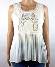 American Eagle Outfitter Top Tank XS Cream Embroidered Bodice Pleated Waist VGC