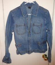 M Womens Juniors The Limited Jean Jacket Denim Blue Zip Adjustable Banded Waist