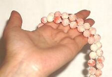 "VINTAGE ANGEL SKIN CORAL MOLDED GLASS KNOTTED  NECKLACE  BEADS 19"" WOW!"