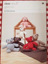 Knitting Pattern ~ Teddy Bears and Baby no wrgBlanket ~ RICO Baby Merino DK yarn