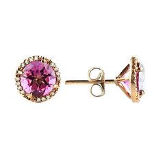 FINE 14K ROSE GOLD PAVE DIAMOND 3.05C PINK TOPAZ MARTINI STUD STUDS EARRINGS