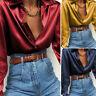 Ladies Silky Satin Top Long Sleeve Collar Shirt Women Formal OL Blouse Plus Size
