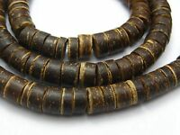 "2 Strands of 22"" Natural Dark Coconut 8mm Heishi Beads"