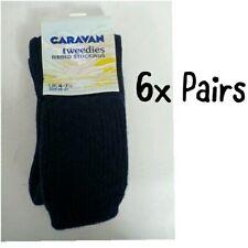 + 6x Pair CARAVAN Men's Long Tweedies Ribbed Stockings Socks SIZE 4-7.5 UK 49:13