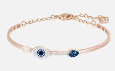 Swarovski Symbolic Evil Eye Duo Bangle Bracelet Blue Rose Gold Plt 5171991 Small