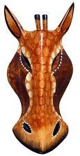 Schöne 20 cm Giraffe dunkel Holz Maske Afrika Wandmaske Handarbeit Bali Maske76