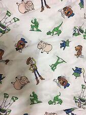 Disney Pixar Toy Story Vintage Twin Flat Sheet Fabric Woody Buzz Ham Mr Potato