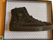 Philipp Plein Mens Hi-Top Sneakers, Black, Glass/Crystals, Size 42