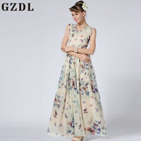 Womens Sleeveless BOHO Floral Long Maxi Prom Gown Cocktail Evening Dress CHK