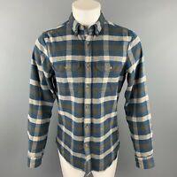 FJALLRAVEN Size M Navy & Brown Plaid Cotton Button Down Long Sleeve Shirt