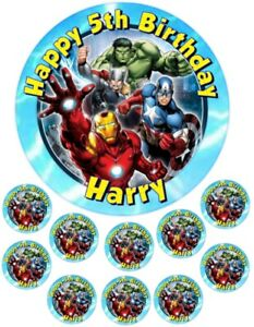"""Avengers  6.5"""" round  and 10 Smaller 1.5""""  Personalised Edible Icing Cake Topper"""