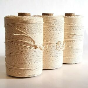 Strong Smooth Undyed Macrame Pure Cotton Warp, Yarn String Cord Thread, Weaving