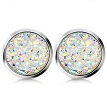 14mm faux Druzy Geode Stud Earrings, Opal Sky iridescent white color, Stainless
