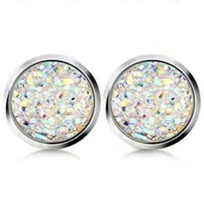 12mm faux Druzy Geode Stud Earrings, Opal Sky iridescent white color, Stainless