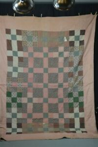 early old period quilt brown green pink 67x94 ties calico patches mid 19thc 1850