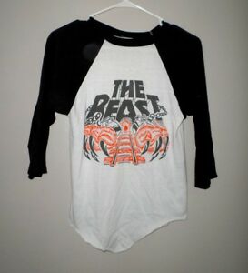 THE BEAST youth small T shirt Kings Island rollercoaster vtg 3/4 tee 1980s Ohio