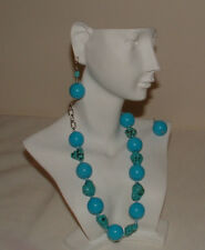ADJUSTABLE NECKLACE TURQUOISE GEMS&TURQUOISE BEADS W/ MATCHING PIERCED EARRINGS