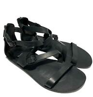 EILEEN FISHER BLACK FLAT LEATHER SANDALS, 9.5, $445