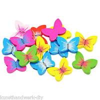 H/J 70 Mix Mehrfarbig Holzperlen zum Fädeln Schmetterling Speichelfest 20x15mm