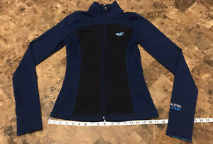 Hollister Blue Full Zip California Sport Reflective Jacket Fitted Women's Small