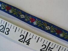 "A2269 TRIM Jacquard Woven Royal Blue Red White Floral Ribbon 6 Yds 1/2"""