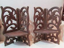 ancienne paire petites etageres d'angle encoignures bois sculpté foret noire