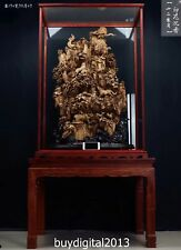 196CM Indonesia Agarwood All Chinese zodiac Animal Dragon Tiger Monkey sculpture