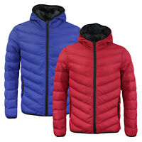Mens Brave Soul Lightweight Winter Puffer Jacket In Red & Blue AW18